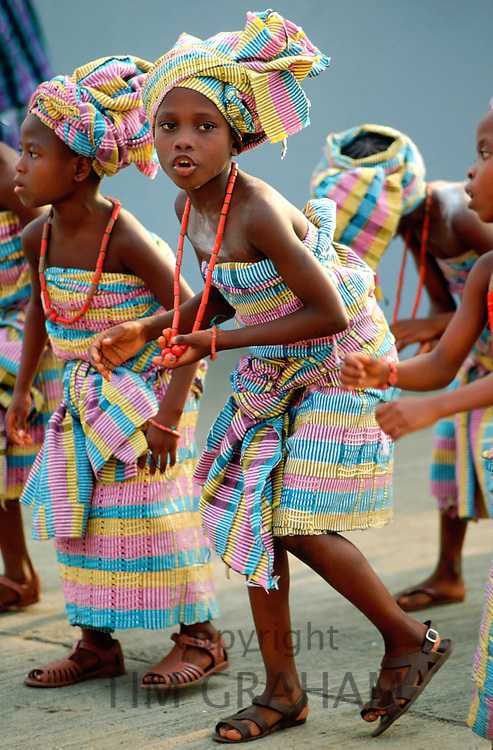 Young girls dancing in a festival in Nigeria