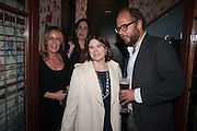 CATHERINE FAULKS; LUCINDA BREDIN; CHARLIE MCVEIGH, Party to celebrate the publication of 'Winter Games' by Rachel Johnson. the Draft House, Tower Bridge. London. 1 November 2012.