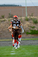 KELOWNA, BC - AUGUST 17:  Javen Kaechele #84 of Okanagan Sun takes part in pre-game warm up against the Westshore Rebels  at the Apple Bowl on August 17, 2019 in Kelowna, Canada. (Photo by Marissa Baecker/Shoot the Breeze)