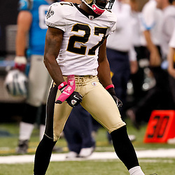 October 3, 2010; New Orleans, LA, USA; New Orleans Saints cornerback Malcolm Jenkins (27) celebrates a defensive stop against the Carolina Panthers during the second half at the Louisiana Superdome. The Saints defeated the Panthers 16-14. Mandatory Credit: Derick E. Hingle