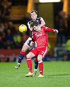 Dundee&rsquo;s Paul McGowan gets to grips with Aberdeen&rsquo;s Kenny McLean - Dundee v Aberdeen in the Ladbrokes Scottish Premiership at Dens Park, Dundee. Photo: David Young<br /> <br />  - &copy; David Young - www.davidyoungphoto.co.uk - email: davidyoungphoto@gmail.com