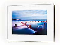 Blue Beyond, Coogee &ndash; Ex exhibition work. One only available. 12x18&rdquo; signed print on Fujicolor Pearl metallic paper. Mounted on 2mm aluminium composite. White box frame with white mattboard, UV acrylic &amp; D-ring hangers. Outside frame dimensions 470 x 625 x 38mm. Clearance price $195 incl GST &amp; free delivery in Sydney metro area only. <br />