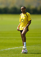 Photo: Richard Lane.<br />Arsenal Training Session. The Barclays Premiership. 11/05/2006.<br />Thierry Henry feels the heat during training ahead of next weeks Champions League final.