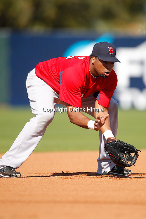 February 19, 2011; Fort Myers, FL, USA; Boston Red Sox third baseman Hector Luna during spring training at the Player Development Complex.  Mandatory Credit: Derick E. Hingle
