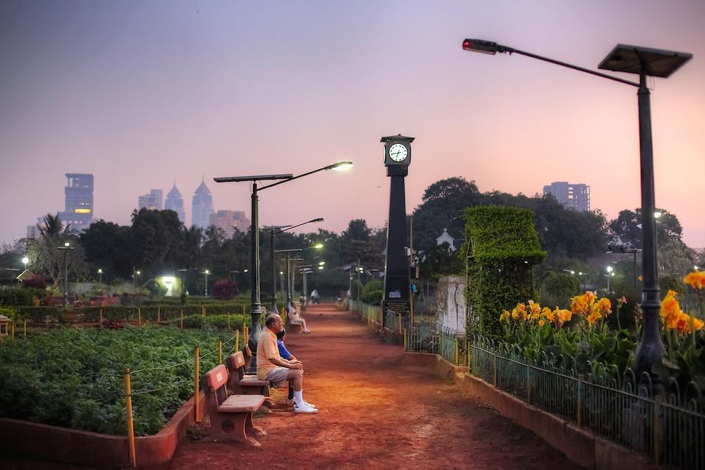 Elderly people enjoying the morning at Hanging Gardens in Malabar Hills, Mumbai