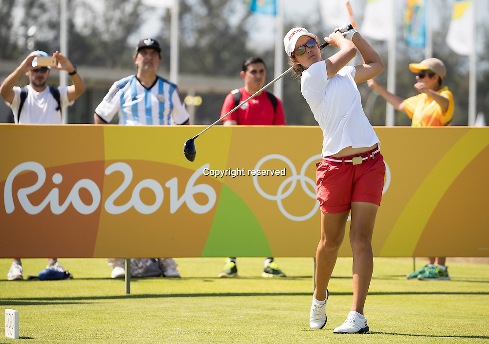 17.08.2016. Rio de Janeiro, Brazil. Olympic Games, womens golf competition 2016.  Christine Wolf of Austria during the 1st round at the Rio Olympics Golf 2016 held at the Olympic Golf Course.