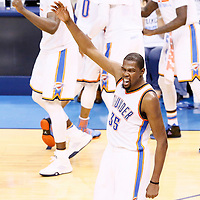 08 May 2016: Oklahoma City Thunder forward Kevin Durant (35) celebrates during the Oklahoma City Thunder 111-97 victory over the San Antonio Spurs, during Game Four of the Western Conference Semifinals of the NBA Playoffs at the Chesapeake Energy Arena, Oklahoma City, Oklahoma, USA.