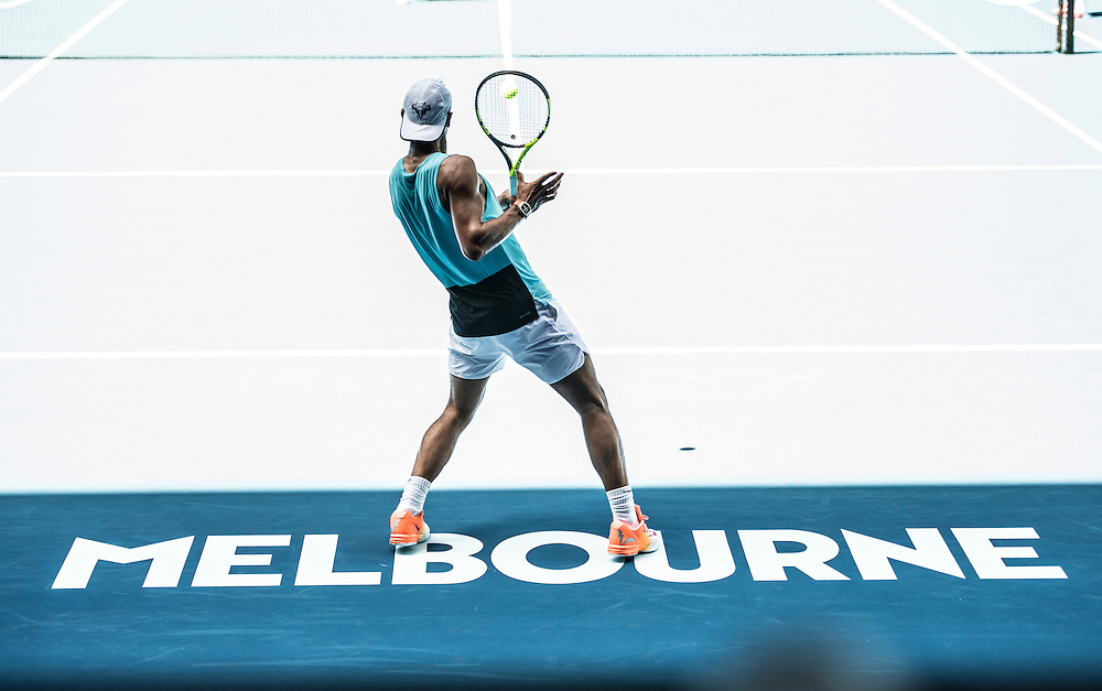Rafael Nadal of Spain practices ahead of the 2017 Australian Open at Melbourne Park on January 12, 2017 in Melbourne, Australia.<br /> (Ben Solomon/Tennis Australia)