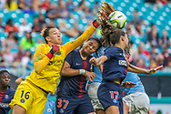 PSG goalkeeper Christiane Endler (16) fails to stop a cross and allows Jill Scott, surrounded by defenders, to score during the third place match of the Women's International Champions Cup between Manchester City and Paris Saint-Germain at Hard Rock Stadium in Miami Gardens, Sunday, July 29, 2018.