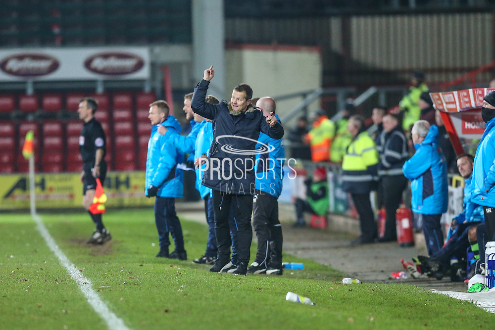 Forest Green Rovers manager, Mark Cooper gives instructions during the Vanarama National League match between Wrexham FC and Forest Green Rovers at the Racecourse Ground, Wrexham, United Kingdom on 26 November 2016. Photo by Shane Healey.