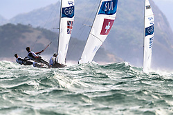 Brazil Rio de Janeiro 2. August 2016 Marina di Gloria, Rio 2016 Olympic Games, Racing day 4, 470 Race course Niteroi outside the bay of Guanabara<br /> <br /> ©Juerg Kaufmann go4image.com