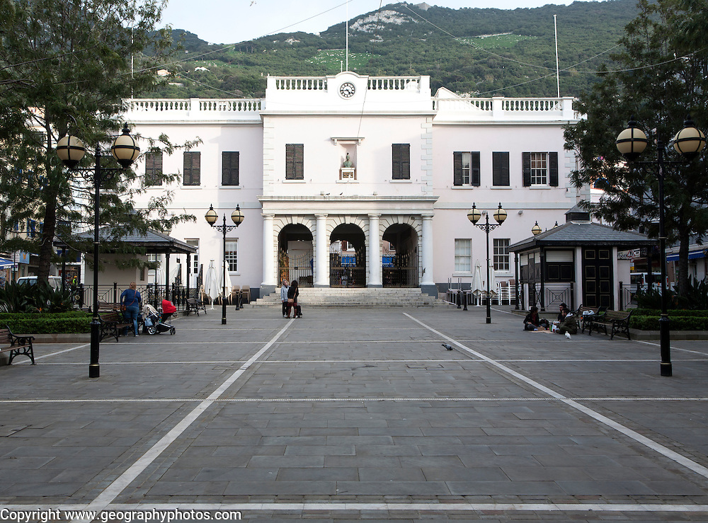 John Mackintosh Square and Parliament House building, Gibraltar, British overseas territory in southern Europe