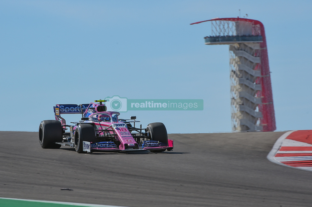 November 3, 2019, Austin, TX, USA: AUSTIN, TX - NOVEMBER 03: Racing Point BWT Mercedes driver Lance Stroll (18) of Canada enters turn 10 during the F1 - U.S. Grand Prix race at Circuit of The Americas on November 3, 2019 in Austin, Texas. (Photo by Ken Murray/Icon Sportswire) (Credit Image: © Ken Murray/Icon SMI via ZUMA Press)