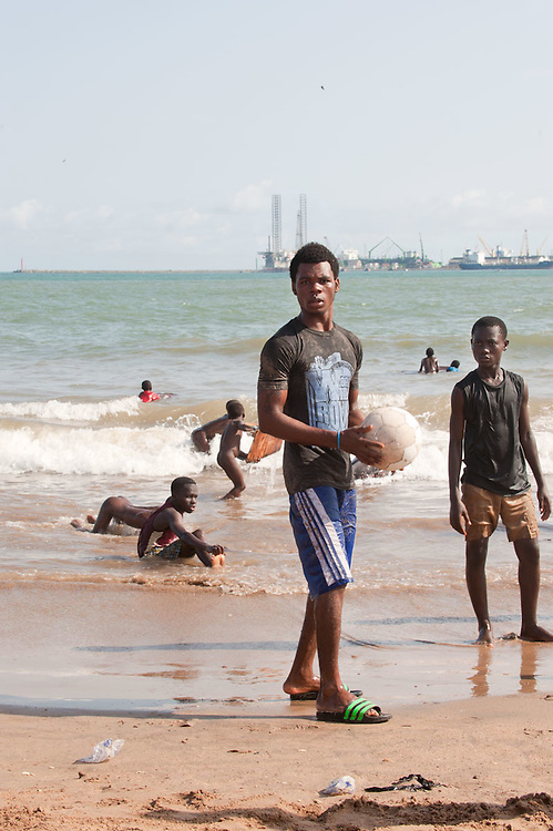 Local kids play soccer on the beach of New Takoradi, Ghana 2011