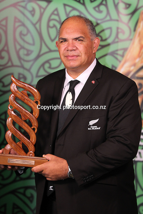 301113 2013  Luke Crawford accepts the award for Maori Sports Team of the year awarded to the Maori All Blacks at the Trillian Trust Maori Sports Awards at Vodafone Events Centre, Manukau. Photo: Fiona Goodall/photosport.co.nz