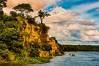 Tourist boats on the Nile River in Murchison Falls National Park, Uganda.