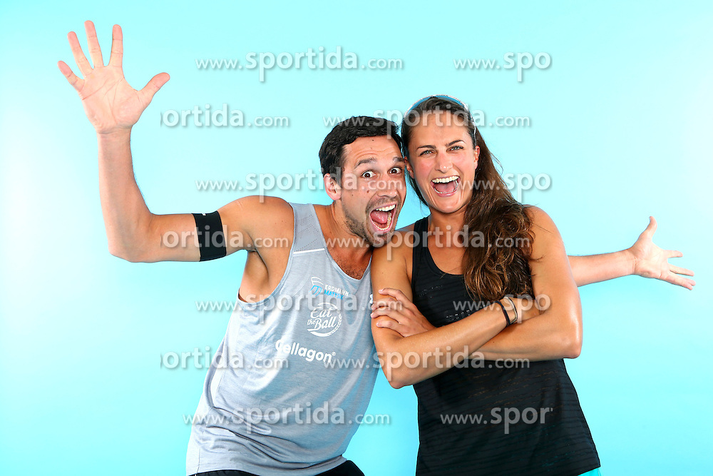 07.06.2016, Hamburg, GER, DVV Beachvolleyball, Fototermin, Nationalmannschaft, Olympische Spiele, Rio 2016, im Bild v.l Jonathan Erdmann und Ilka Semmler (GER) // v.l. Jonathan Erdmann and Ilka Semmler of Germany during photocall of German Beach Volleyball team of German Cycling Federation for the Olympic games, Rio 2016. Hamburg, Germany on 2016/06/07. EXPA Pictures &copy; 2016, PhotoCredit: EXPA/ Eibner-Pressefoto<br /> <br /> *****ATTENTION - OUT of GER*****