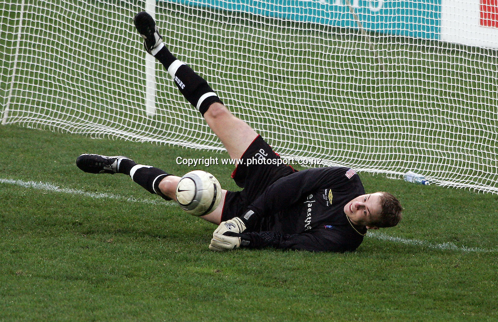 Western Suburbs goal keeper Phil Imray saves a penalty shot from Eastern Suburbs during the Chatham Cup soccer final between Western Suburbs and Eastern Suburbs at North Harbour Stadium, Auckland, New Zealand on Saturday 2 September, 2006. Western Suburbs won the match after extra time and a penalty shoot out. Photo: Hannah Johnston/PHOTOSPORT<br /> <br /> <br /> <br /> <br /> 020906