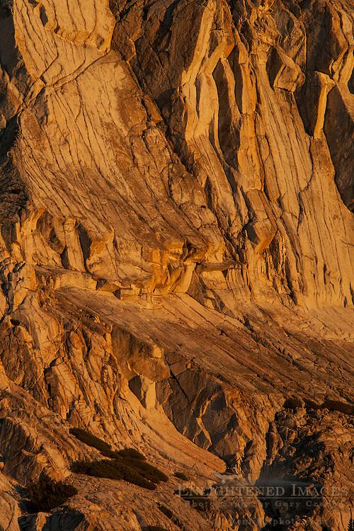 Vertical Jointing on the granite rock face of Fletcher Peak, Vogelsang region, Yosemite National Park, California