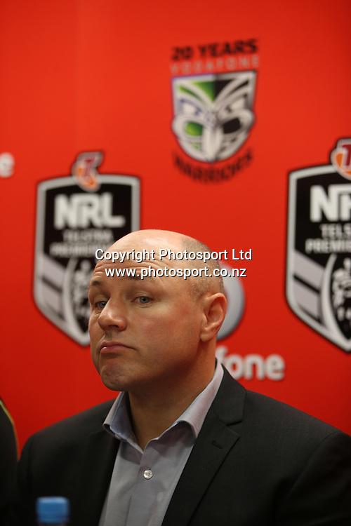 Coach Andrew McFadden at the press conference after the NRL Rugby League match between the NZ Warriors and the Parramatta Eels played at Mt Smart Stadium in South Auckland on the 21st March 2015. <br /> <br /> Copyright Photo; Peter Meecham/ www.photosport.co.nz