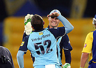 CENTURION, SOUTH AFRICA - 9  January 2009, Roelof van der Merwe celebrate the wicket of Justin Ontong during the MTN Domestic Championship Semi Final match between The Nashua Titans and The Nashua Cape Cobras held at SuperSport Park, Centurion, South Africa..Photo by Barry Aldworth/SPORTZPICS