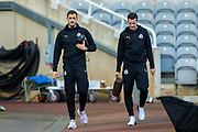 Joselu (#21) of Newcastle United and Javi Manquillo (#19) of Newcastle United ahead of the Premier League match between Newcastle United and Huddersfield Town at St. James's Park, Newcastle, England on 23 February 2019.