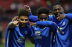 Lee Angol (left) of Peterborough United celebrates scoring his goal with team-mates Jermaine Anderson and Ricardo Almeida Santos - Mandatory byline: Joe Dent/JMP - 07966 386802 - 21/11/2015 - FOOTBALL - Alexandra Stadium - Crewe, England - Crewe Alexandra v Peterborough United - Sky Bet League One