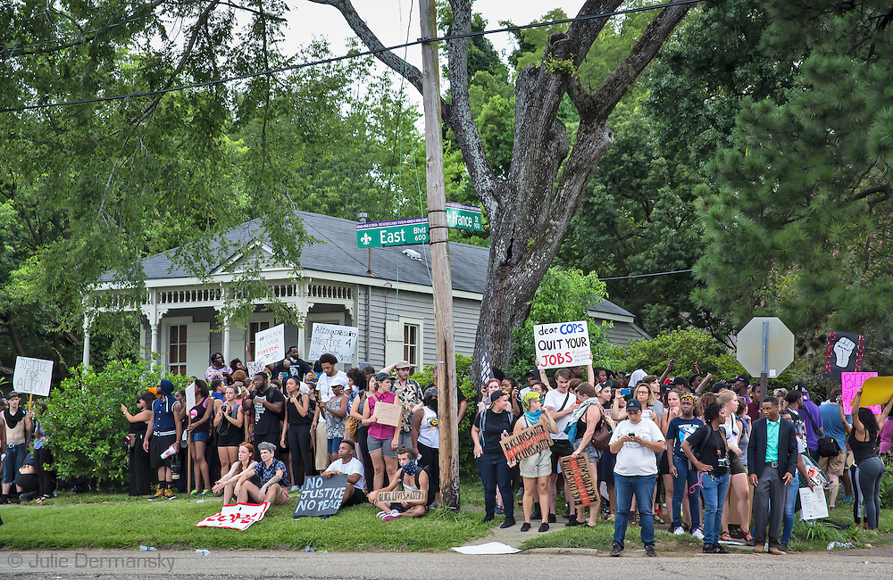 Protesters have a standoff with the Baton Rogue police deptartmend in Baton Rouge on Sunday, July 10, 2016.  6 days following the Alton Sterling shooting. Aproximaetly 48 people had been were taken into custody by midnight Sunday,