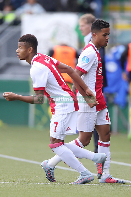 David Neres of Ajax, Justin Kluivert of Ajax during the Dutch Eredivisie match between ADO Den Haag and Ajax Amsterdam at Car Jeans stadium on September 17, 2017 in The Hague, The Netherlands