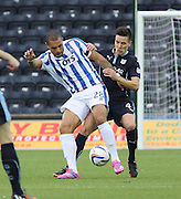 Kilmarnock's Josh Magennis holds off Dundee's Thomas Konrad  - Kilmarnock v Dundee - Dundee v Celtic SPFL Premiership at Dens Park<br /> <br />  - &copy; David Young - www.davidyoungphoto.co.uk - email: davidyoungphoto@gmail.com