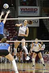 24 November 2006: Ashten Stelken strikes during a Semi-final match between the Creighton University Bluejays and the Northern Iowa University Panthers. The Tournament was held at Redbird Arena on the campus of Illinois State University in Normal Illinois.<br />