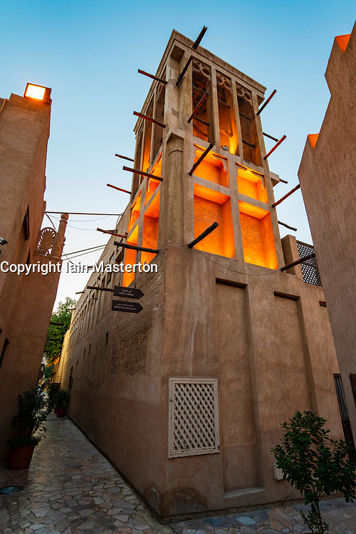 Traditional wind tower at original historic Al Fahidi district , al Bastakiya , in Dubai, United Arab Emirates