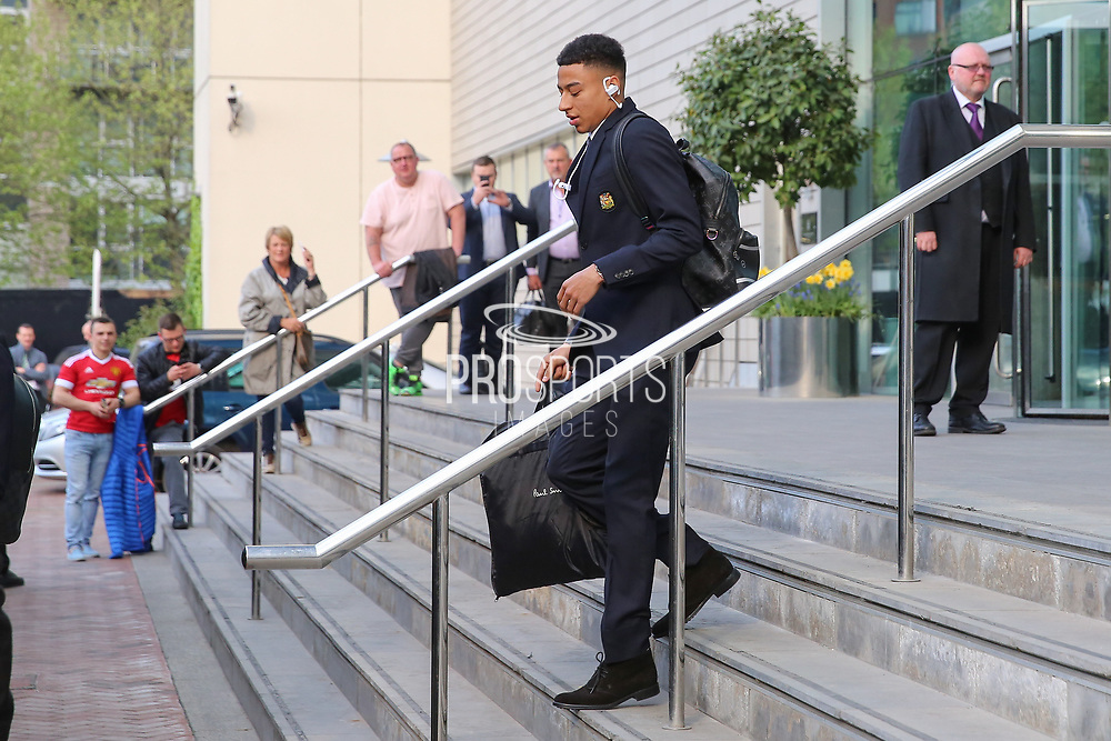 Jesse Lingard Midfielder of Manchester United departs the Lowry hotel before the Manchester United vs Celta Vigo match at Old Trafford, Manchester, United Kingdom on 11 May 2017. Photo by Phil Duncan.