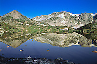 Reflections of Sugar Loaf Mountain (left) and Medicine Bow Peak in Lewis Lake of the Snowy Range.  Wyoming, USA.