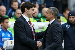 Middlesbrough Manager Aitor Karanka greats Brighton & Hove Albion Manager Chris Hughton - Mandatory byline: Jason Brown/JMP - 07966 386802 - 19/12/2015 - FOOTBALL - American Express Community Stadium - Brighton,  England - Brighton & Hove Albion v Middlesbrough - Championship