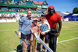 LIVERPOOL, ENGLAND - Sunday, June 24, 2018: Vera Zvonareva (RUS) with Sofia Segui-Edmondson James Rigby and Tennis coach Sam Jalloh during day four of the Williams BMW Liverpool International Tennis Tournament 2018 at Aigburth Cricket Club. (Pic by Paul Greenwood/Propaganda)