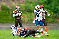 KELOWNA, BC - SEPTEMBER 8:   Liam Johnstone #40 of Okanagan Sun tackles Liam STEWART #83 of Langley Rams at the Apple Bowl on September 8, 2019 in Kelowna, Canada. (Photo by Marissa Baecker/Shoot the Breeze)