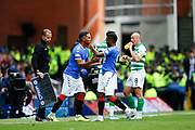 Alfredo Morelos of Rangers F.C. comes on as a substitute for Jermain Defoe of Rangers F.C. during the Ladbrokes Scottish Premiership match between Rangers and Celtic at Ibrox, Glasgow, Scotland on 1 September 2019.
