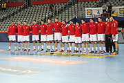 Team Serbia during anthems before the EHF 2018 Men's European Championship, 2nd Round, Handball match between Serbia and Belarus on January 24, 2018 at the Arena in Zagreb, Croatia - Photo Laurent Lairys / ProSportsImages / DPPI