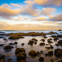 Corona Beach tide pools in Corona Del Mar in Newport Beach California. Corona Del Mar is in Orange County California in the United States.