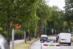 A tree's branches partially obscure a sign indicating a new road layout ahead in Edmonton, North London. Overgrown trees and other roadside clutter are obscuring motorists' views of roadsigns that often impart crucial speed or safety information only at the last minute. London, July 17 2019.