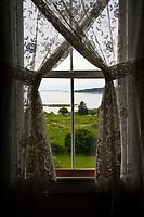 Window view of Blue Hill Bay, Brooklin Maine.