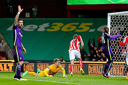 Stoke City's Peter Crouch wheels away to celebrate a goal which was disallowed - Photo mandatory by-line: Matt McNulty/JMP - Mobile: 07966 386802 - 11/02/2015 - SPORT - Football - Stoke - Britannia Stadium - Stoke City v Manchester City - Barclays Premier League