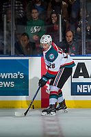 KELOWNA, CANADA - NOVEMBER 11: Liam Kindree #26 of the Kelowna Rockets stops at centre ice with the puck against the Red Deer Rebels on November 11, 2017 at Prospera Place in Kelowna, British Columbia, Canada.  (Photo by Marissa Baecker/Shoot the Breeze)  *** Local Caption ***