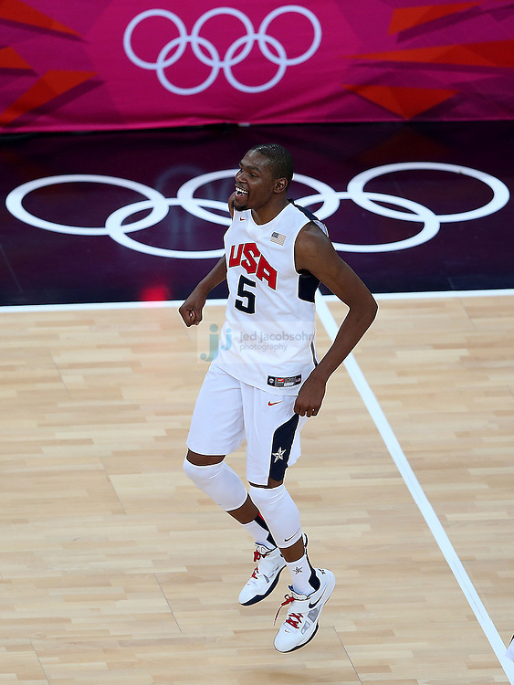 Kevin Durant of the USA basketball team celebrates after defeating Spain during the men's final basketball game during day 16 of the London Olympic Games in London, England, United Kingdom on August 12, 2012..(Jed Jacobsohn/for The New York Times)..