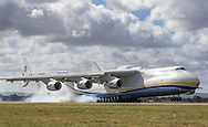 PERTH, AUSTRALIA - MAY 15: The Antonov An-225 Mriya lands at Perth International airport on May 15, 2016 in Perth, Australia