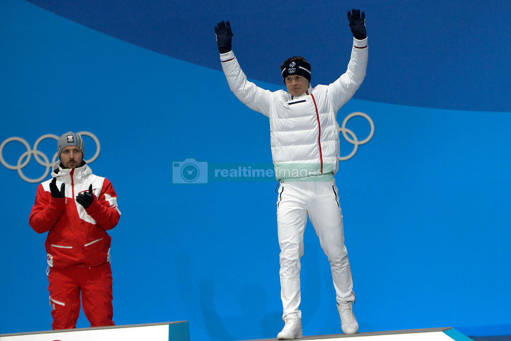 February 18, 2018 - Pyeongchang, South Korea - ALEXIS PINTURAULT of France celebrates getting the bronze medal in the men's Super-G skiing event in the PyeongChang Olympic Games. (Credit Image: © Christopher Levy via ZUMA Wire)