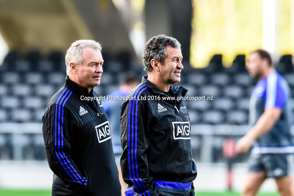 Wanye Smith looks on with Grant Fox in the back ground during the All Blacks Captains run at Forsyth Barr Stadium, Dunedin, New Zealand. 24th June 2016. Copyright Photo: John Davidson / www.photosport.nz