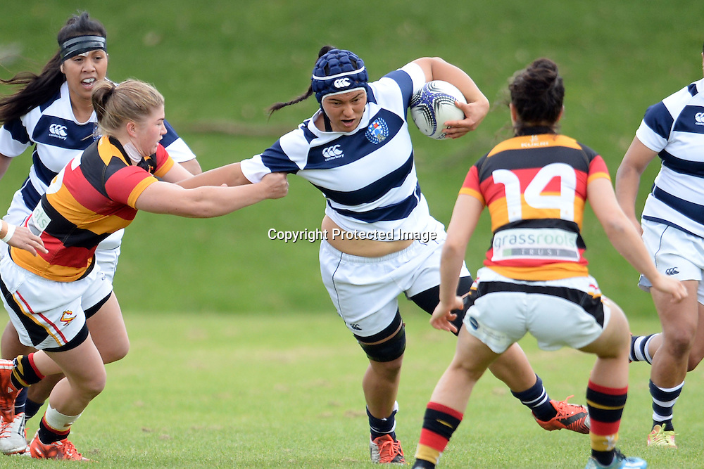 Auckland Storm's Shannon Leota in action during the Women's Rugby NPC Semi Final, Auckland Storm v Waikato. Auckland, New Zealand on Saturday 10 October 2015. Copyright Photo: Raghavan Venugopal / www.photosport.nz