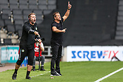 Forest Green Rovers assistant manager, Scott Lindsey and Forest Green Rovers manager, Mark Cooper during the EFL Sky Bet League 2 match between Milton Keynes Dons and Forest Green Rovers at stadium:mk, Milton Keynes, England on 15 September 2018.